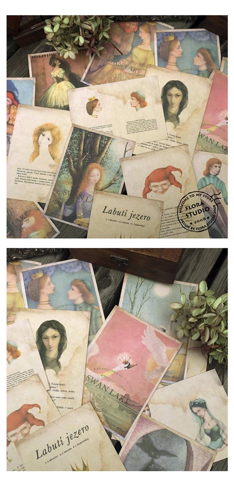 Vintage Style Postcard set Swan Lake - 16 Cards, A005b