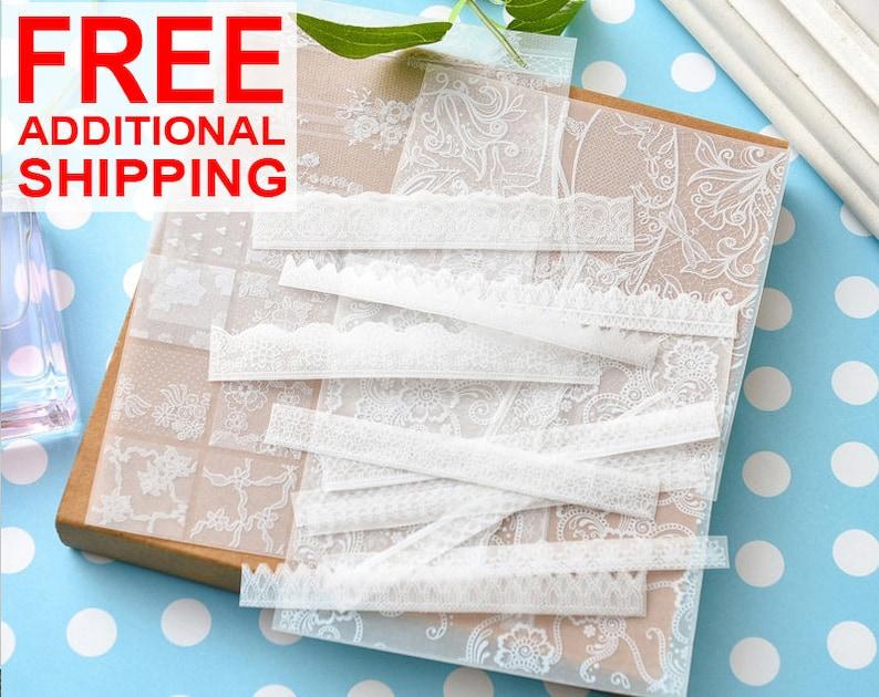 6 Sheets Lace Vellum Sticker 1 White Art Journal Scrapbooking Mixed Media Bujo Embellishment