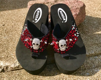 945f1eba7162ed Swarovski Red and Crystal Rhinestone Skull with Silver Spikes Wedge Flip  Flops Sandals Rock n Roll Metal Punk