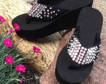 b05a3ebbaa4a Swarovski Crystal Rhinestone Wedge Flip Flops Sandals
