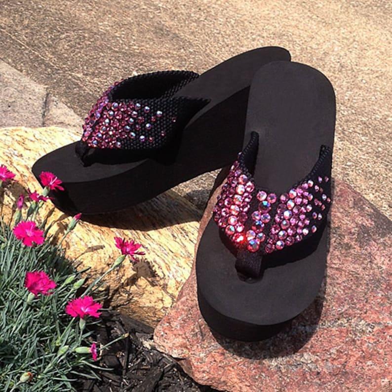 e13023dcdc35 Swarovski Pink Rhinestone Wedge Flip Flops Sandals