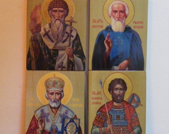 """Personal Patron Saint  13x17x2 см-сustom made in order- orthodox icons  religious icons of hot colors directly on solid wood 5.2""""x 6.8""""x0.8"""""""