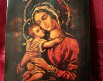 "Holy Mother of God, icon hand-painted of hot colors directly on solid wood 18x24x2 см ( 7.0""x 9.6""x0.8"" )"