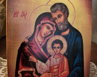 """Icon Holy Family consecrated 7.0""""x9.6"""" ( 18x24x2 cm),hand-painted of hot colors directly on solid wood"""