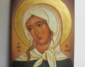 """Saint Xenia icon hand-painted  of hot colors directly on solid wood  18x24x2 см ( 7.1""""x 9.5""""x0.8"""" )"""