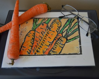 Hand Tinted Linoleum Print of Carrots
