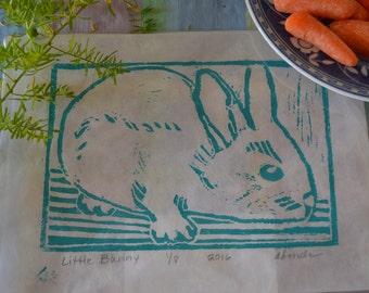 Linoleum print of a bunny