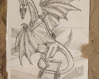 ORIGINAL INK DRAWING of a wyvern in a desert