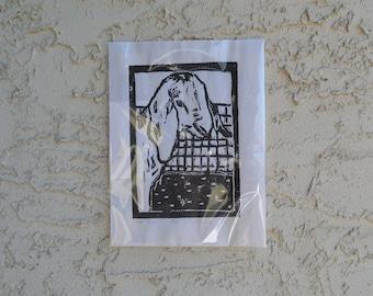 Young Goat linoleum block print