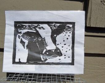 Holstein cow linoleum block print