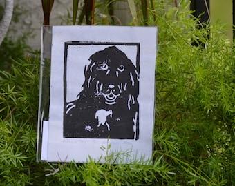 Black Dog Linoleum Print