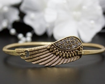 Vintage Gold Crystal Accented Angel Wing Bangle Bracelet, Gold-Tone Bangle Bracelet, Thank You Gift, Birthday Gift | #016
