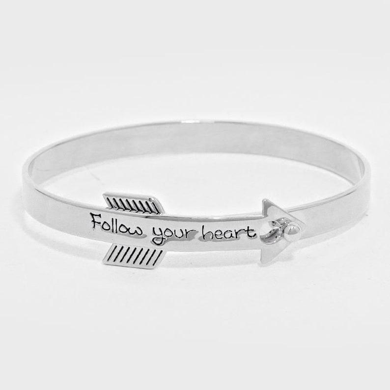 Thank You Birthday Gift Graduations Gift Beautiful Words Follow Your Heart Arrow Silver Bangle Bracelet S#022