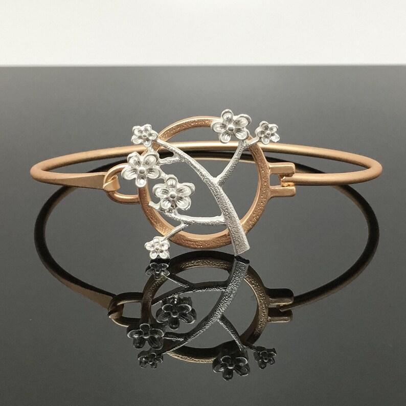 Thank You Graduations Gift \u685c\u306e\u6728 Cherry Blossom Tree Birthday Gift Matte-Finish Gold Bangle Bracelet