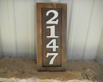Address Sign, House Number, Carved Cedar, Rustic, Vertical, Slanted, Horizontal, Hand Made, Reflective, Contoured, Decorative, UV Finish,