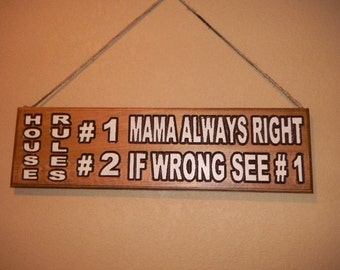 Signs Wood Comic, Funny Sign, Custom Carved, Walnut Finish UV resistance, House Rules, Furniture Finish, Wall Plaque,Statement Sign