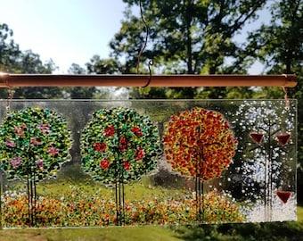 Four Seasons Fused Glass Hanging Panel