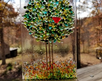 Small Summer Tree in an Oak Stand With A Happy Red Bird Handmade Fused Glass Suncatcher
