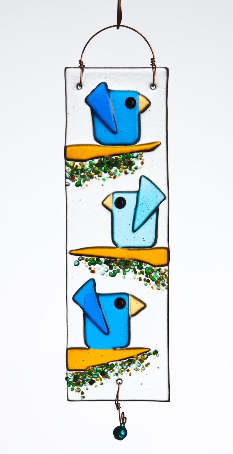 Trio of Birds Handmade Fused Glass Suncatcher