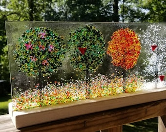 Seasons of the Year, Seasons of Your Life in Wooden Stand Fused Glass Sculpture