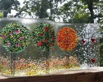 Seasons of the Year, Seasons of Your Life Freestanding Fused Glass Sculpture