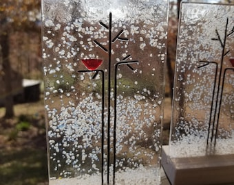 Celebrate Winter! Fused Glass Winter Tree With Snow in Wooden Stand