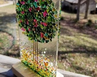 Blossoming Spring Tree in an Oak Stand Handmade Fused Glass Suncatcher