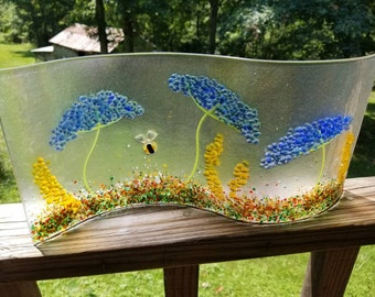 Blue Queen Anne's Lace Wavy Freestanding Fused Glass Panel