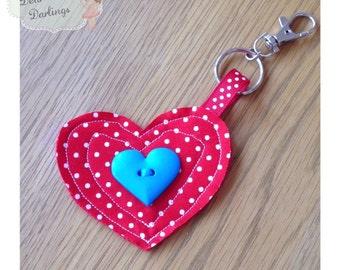 Red Heart Shaped Keyring, Heart Keyring