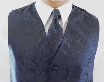 Men/'s two tone satin PAISLEY EVENING SCARF AND POCKET SQUARE SET Made in France