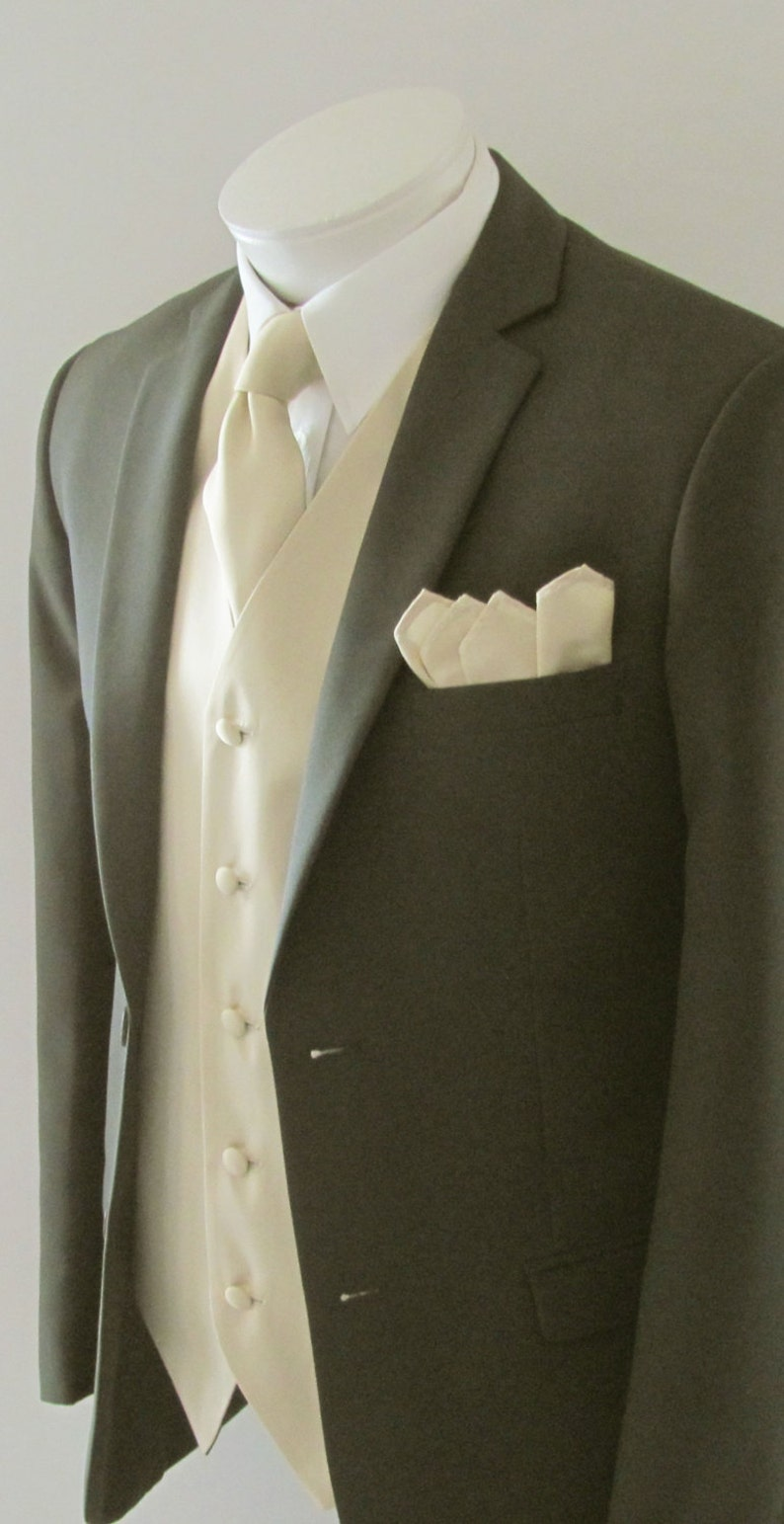 Mens Vest Champaigne Tan  Smooth Satin And Material  Covered Buttons Mans Vest Comes With Matching Tie And Pocket Square
