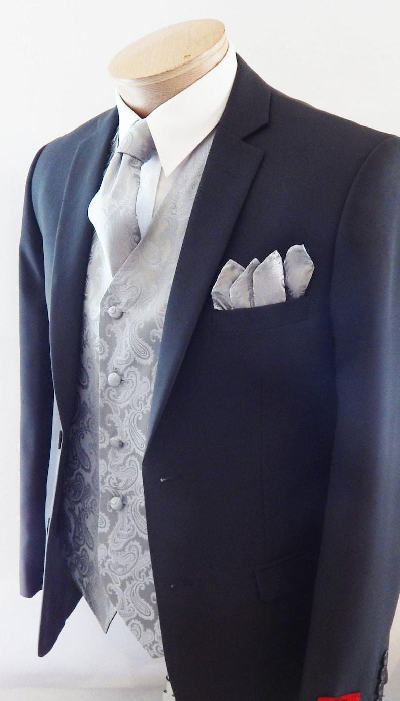 Mens Vest Silver  Tone On Tone Satin Paisley Vest Tie And Pocket Square Set