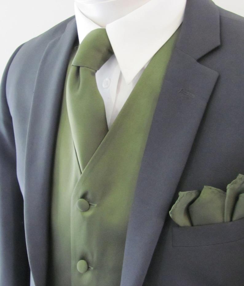 Men/'s Black Satin Formal Tuxedo Vest Bow-Tie /& Hankie Set XS 6XL Reg /& Long