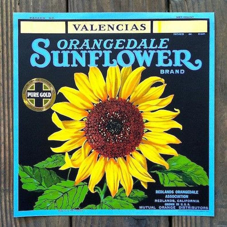 Vintage Original SUNFLOWER ORANGEDALE Citrus Crate Box Label 1920s