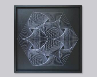 Grande Zen Wall Art in bianco e nero - UV su ordinazione String Art Mandala - geometria sacra per casa, ufficio, Spa, Yoga, bar, locali, ristoranti