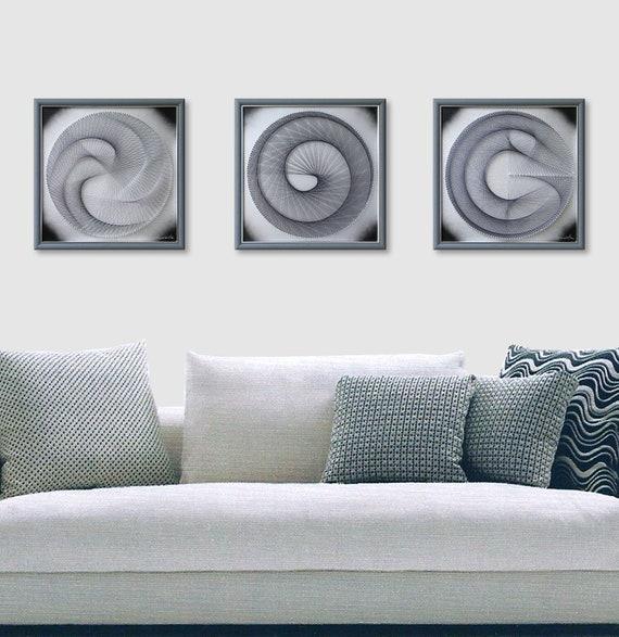 Zen Wall Art Elegant String Art in Silver Gray Framed Wall | Etsy