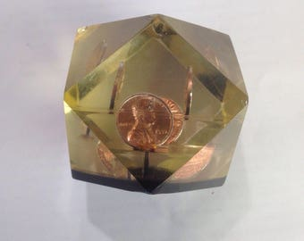 1972 Lucite Penny Paperweight