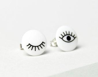 Stud earrings, snow-white porcelain, Black eyes