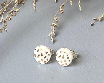 Stud earrings, mint porcelain, gold confetti