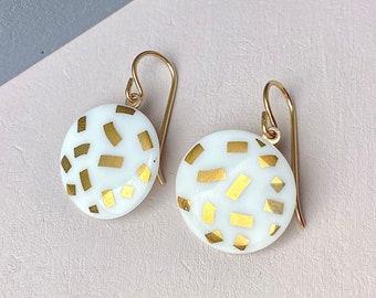 snow-white porcelain earrings / golden confetti
