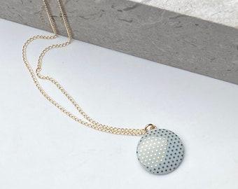 Mint porcelain pendant, with gold dots