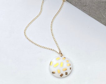 white porcelain pendant, with gold confetti