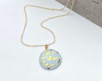 mint porcelain pendant, with gold confetti
