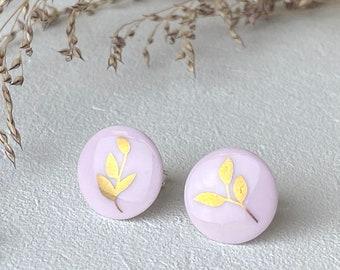 Stud earrings, pink porcelain, gold confetti