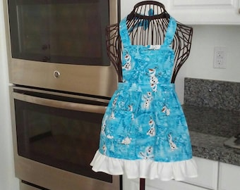 medium Hello Kitty apron with a cute with or without ruffle small large and xlarge. can be made in xsmall