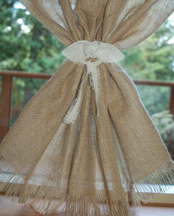 Rustic Burlap Bed Skirt Fringed Edge Flat Panel Natural Tan Cotton Split Corners
