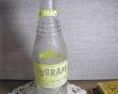 NUGRAPE Soda Bottle - Applied Label and Lettering - Clear Textured Glass