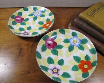 Meito China - Hand Painted Saucer - Flowers and Leaves - Set of Two (2)