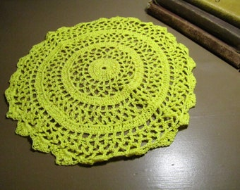 """Vintage Crocheted Doily - Bright Yellow - Round - 10"""""""