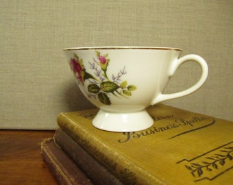 Vintage Thames China Teacup - Moss Rose - Pink Rose - Footed Teacup - Made in Japan
